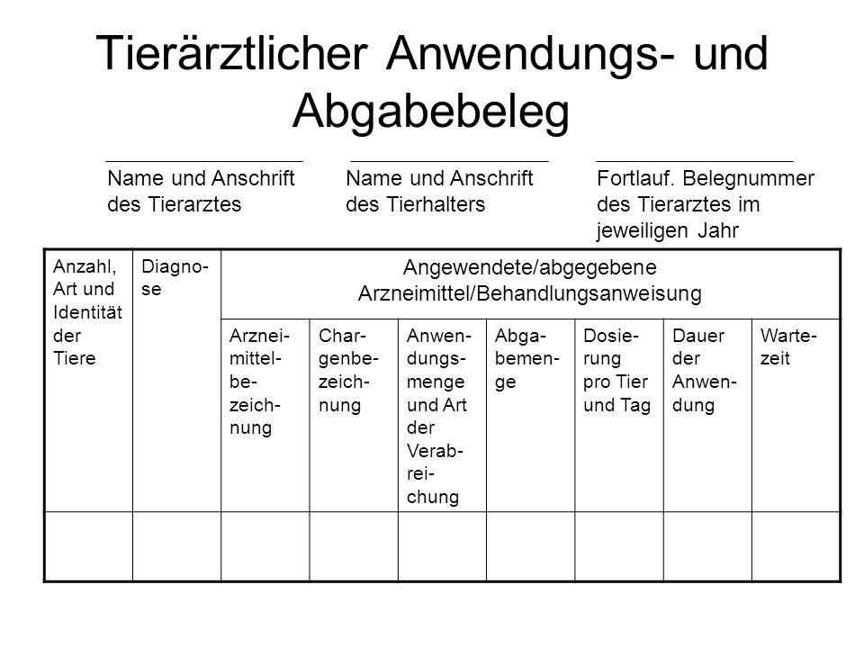 Tierärztlicher Anwendungs- und Abgabebeleg Name und Anschrift des Tierarztes Name und Anschrift des Tierhalters Fortlauf. Belegnummer des Tierarztes i