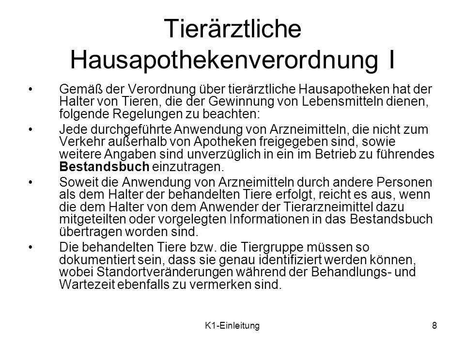 K1-Einleitung9 Tierärztliche Hausapothekenverordnung II Das Bestandsbuch kann manuell aber auch als elektronisches Dokument geführt werden [vgl.