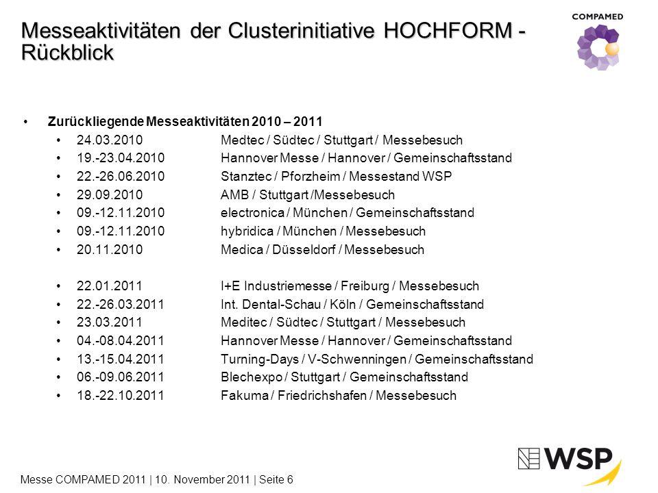 Messeaktivitäten 2012 23.-27.04.2012Hannover Messe / Hannover / Gemeinschaftsstand 19.-21.06.2012Stanztec / Pforzheim / Messestand 25.-29.09.2012Micronora / Besançon (FRA) / Gemeinschaftsstand 13.-16.11.2012hybridica / München / Messebesuch 13.-16.11.2012electronica / München / Gemeinschaftsstand 14.-16.11.2012COMPAMED / Düsseldorf / Gemeinschaftsstand Messeaktivitäten der Clusterinitiative HOCHFORM - Ausblick Weitere Messeaktivitäten 2011 16.-18.11.2011COMPAMED / Düsseldorf / Gemeinschaftsstand Messe COMPAMED 2011 | 10.