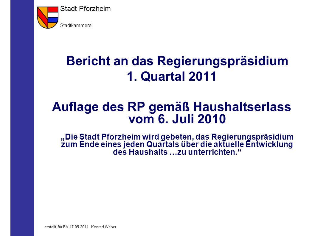 Stadt Pforzheim Stadtkämmerei 0erstellt für FA 17.05.2011 Konrad Weber Bericht an das Regierungspräsidium 1.