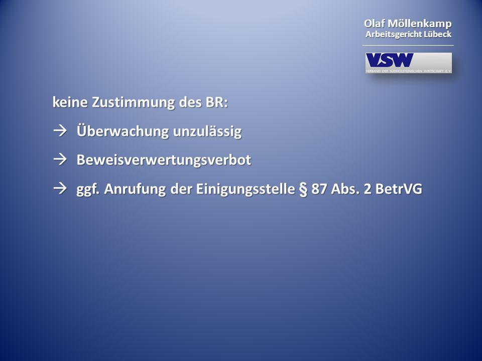 Olaf Möllenkamp Arbeitsgericht Lübeck keine Zustimmung des BR: Überwachung unzulässig Überwachung unzulässig Beweisverwertungsverbot Beweisverwertungs