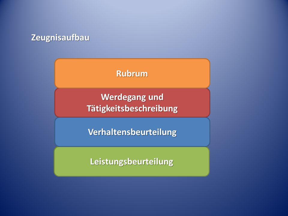 Leistungsbeurteilung Verhaltensbeurteilung Werdegang und Tätigkeitsbeschreibung Rubrum Zeugnisaufbau