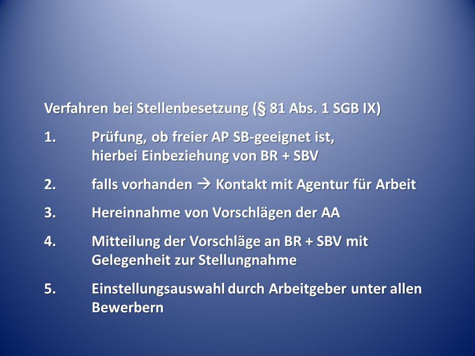 Verfahren bei Stellenbesetzung (§ 81 Abs. 1 SGB IX) 1.Prüfung, ob freier AP SB-geeignet ist, hierbei Einbeziehung von BR + SBV 2.falls vorhanden Konta