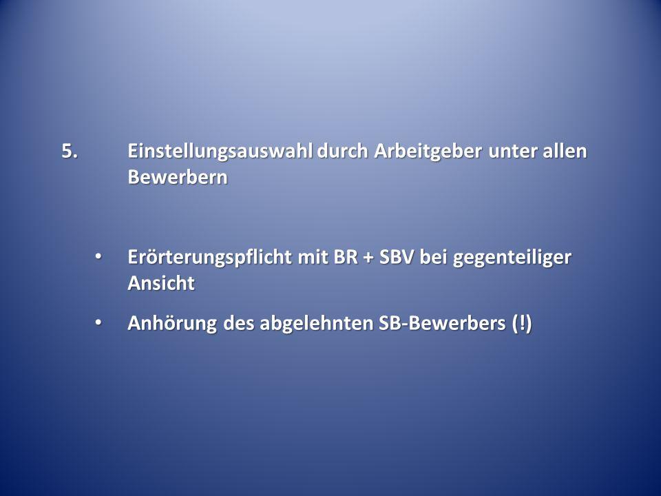 Erörterungspflicht mit BR + SBV bei gegenteiliger Ansicht Erörterungspflicht mit BR + SBV bei gegenteiliger Ansicht Anhörung des abgelehnten SB-Bewerb