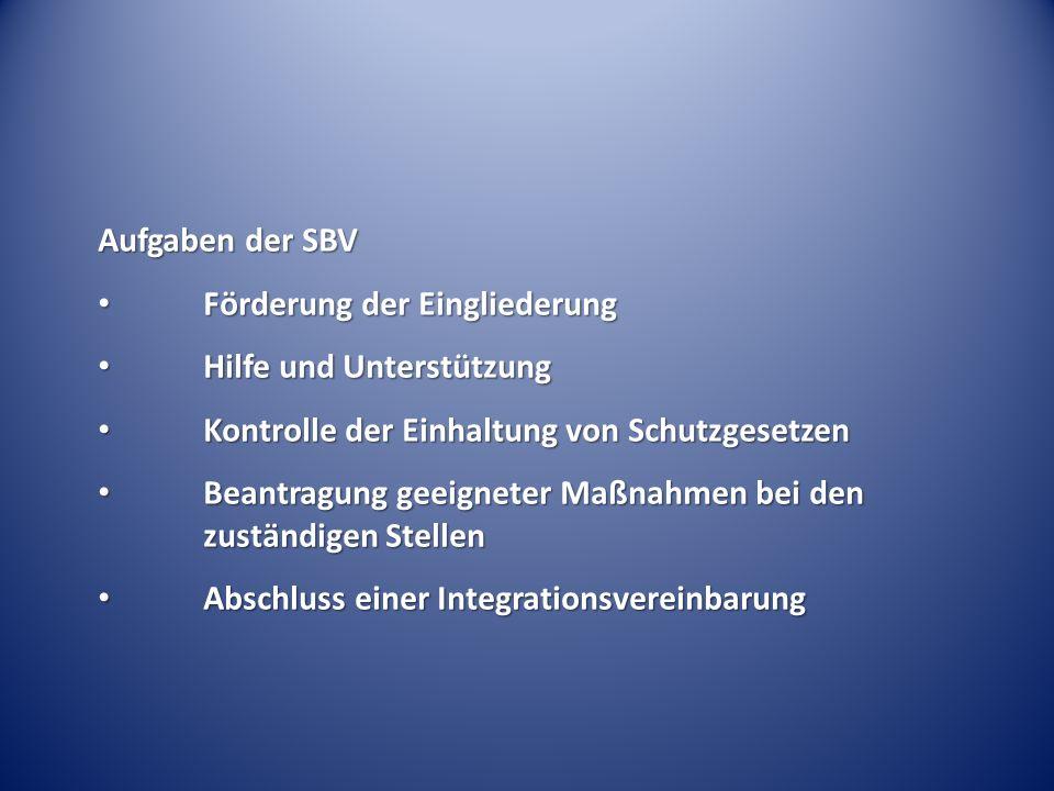 Aufgaben der SBV Förderung der Eingliederung Förderung der Eingliederung Hilfe und Unterstützung Hilfe und Unterstützung Kontrolle der Einhaltung von