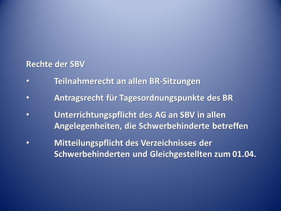 Rechte der SBV Teilnahmerecht an allen BR-Sitzungen Teilnahmerecht an allen BR-Sitzungen Antragsrecht für Tagesordnungspunkte des BR Antragsrecht für