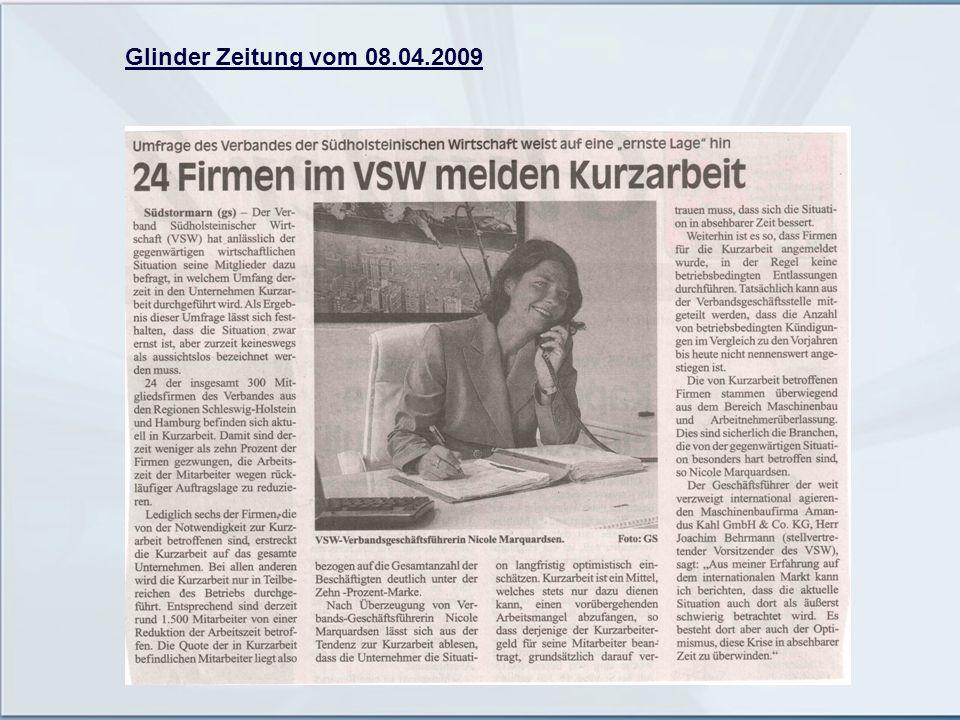 Glinder Zeitung vom 08.04.2009
