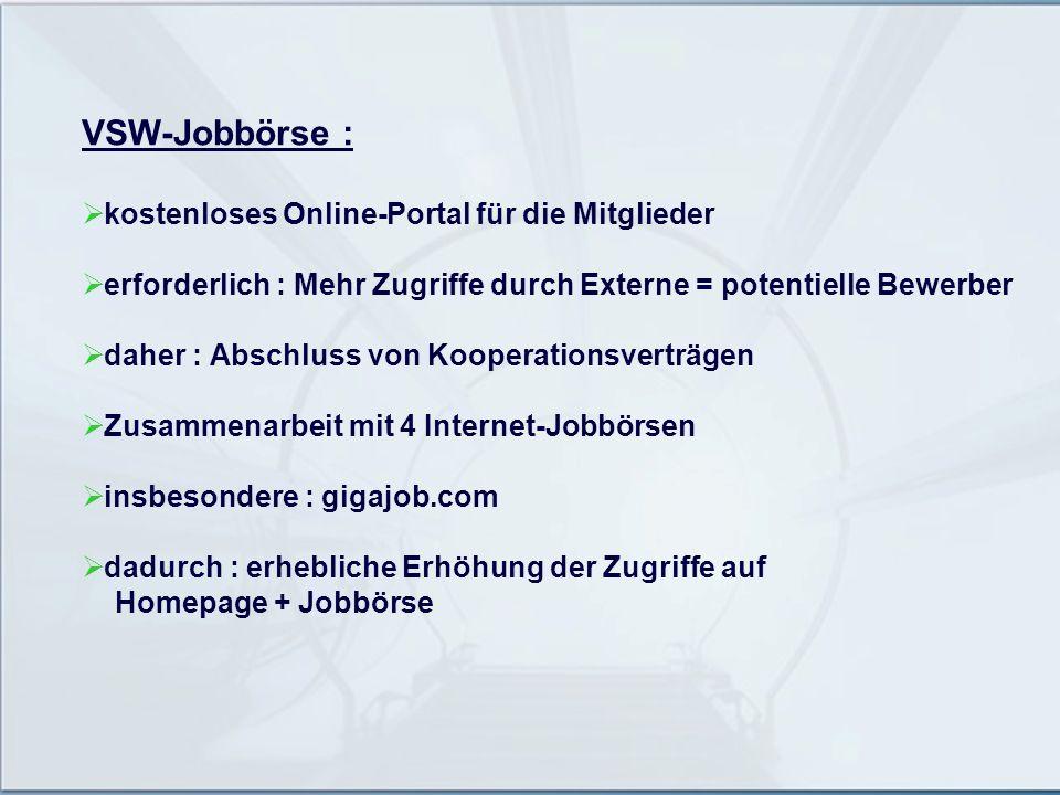 VSW-Jobbörse : kostenloses Online-Portal für die Mitglieder erforderlich : Mehr Zugriffe durch Externe = potentielle Bewerber daher : Abschluss von Ko