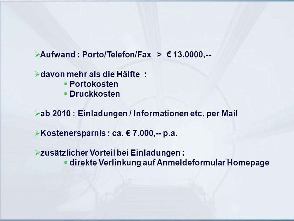 Aufwand : Porto/Telefon/Fax > 13.0000,-- davon mehr als die Hälfte : Portokosten Druckkosten ab 2010 : Einladungen / Informationen etc. per Mail Koste
