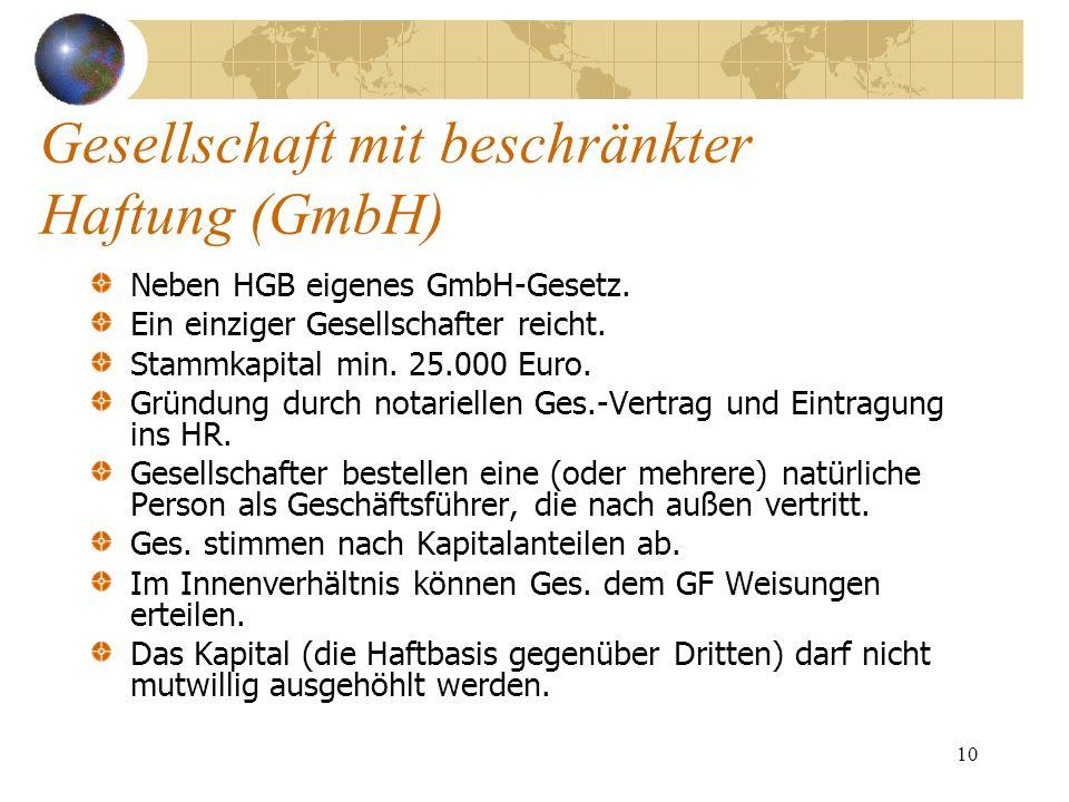 10 Gesellschaft mit beschränkter Haftung (GmbH) Neben HGB eigenes GmbH-Gesetz. Ein einziger Gesellschafter reicht. Stammkapital min. 25.000 Euro. Grün