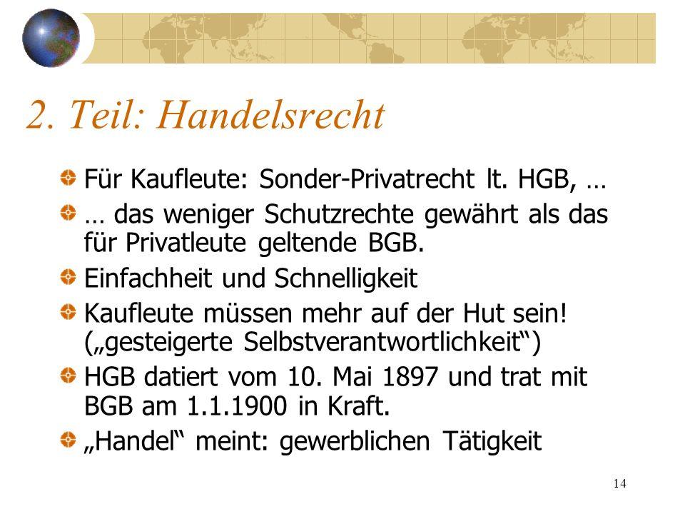 14 2. Teil: Handelsrecht Für Kaufleute: Sonder-Privatrecht lt. HGB, … … das weniger Schutzrechte gewährt als das für Privatleute geltende BGB. Einfach
