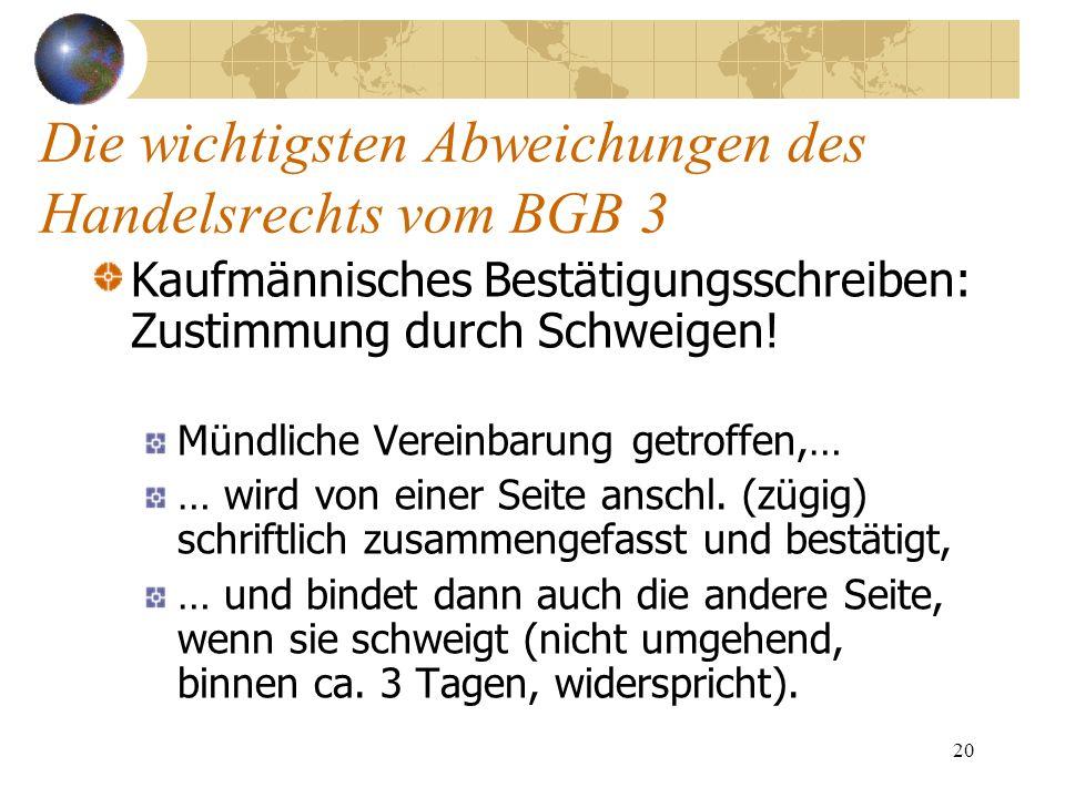 20 Die wichtigsten Abweichungen des Handelsrechts vom BGB 3 Kaufmännisches Bestätigungsschreiben: Zustimmung durch Schweigen! Mündliche Vereinbarung g