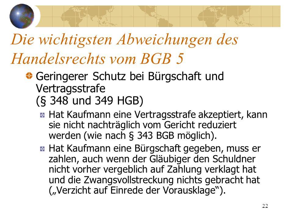 22 Die wichtigsten Abweichungen des Handelsrechts vom BGB 5 Geringerer Schutz bei Bürgschaft und Vertragsstrafe (§ 348 und 349 HGB) Hat Kaufmann eine