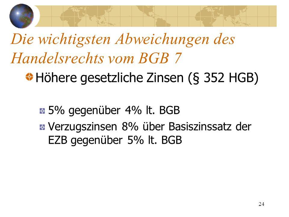 24 Die wichtigsten Abweichungen des Handelsrechts vom BGB 7 Höhere gesetzliche Zinsen (§ 352 HGB) 5% gegenüber 4% lt. BGB Verzugszinsen 8% über Basisz