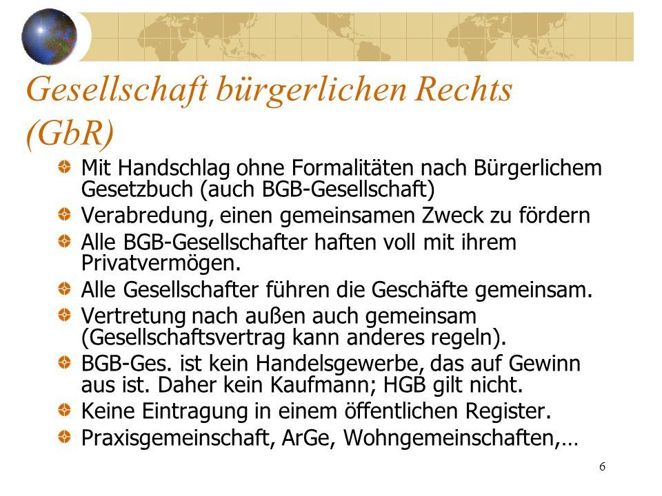 6 Gesellschaft bürgerlichen Rechts (GbR) Mit Handschlag ohne Formalitäten nach Bürgerlichem Gesetzbuch (auch BGB-Gesellschaft) Verabredung, einen geme