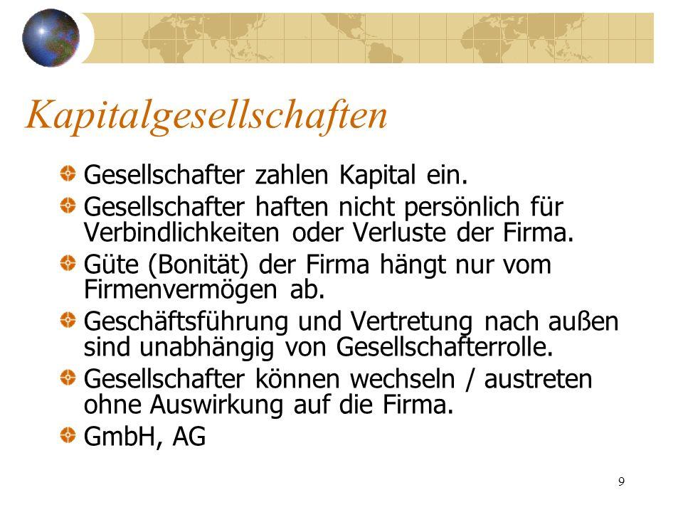 10 Gesellschaft mit beschränkter Haftung (GmbH) Neben HGB eigenes GmbH-Gesetz.