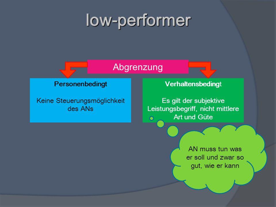 low-performer Abgrenzung Verhaltensbedingt Es gilt der subjektive Leistungsbegriff, nicht mittlere Art und Güte Personenbedingt Keine Steuerungsmöglic