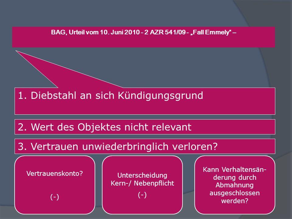 BAG, Urteil vom 10. Juni 2010 - 2 AZR 541/09 - Fall Emmely – 1. Diebstahl an sich Kündigungsgrund 2. Wert des Objektes nicht relevant 3. Vertrauen unw