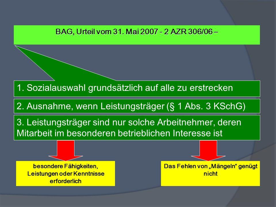 BAG, Urteil vom 31. Mai 2007 - 2 AZR 306/06 – 1. Sozialauswahl grundsätzlich auf alle zu erstrecken 2. Ausnahme, wenn Leistungsträger (§ 1 Abs. 3 KSch