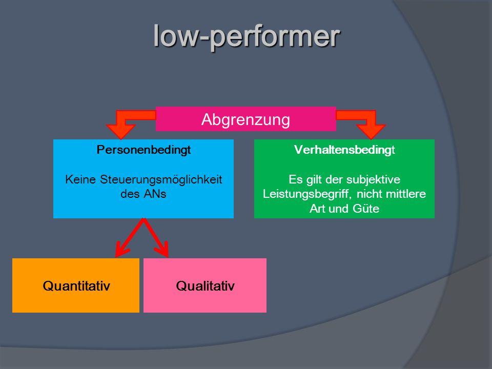 low-performer QuantitativQualitativ Abgrenzung Verhaltensbedingt Es gilt der subjektive Leistungsbegriff, nicht mittlere Art und Güte Personenbedingt
