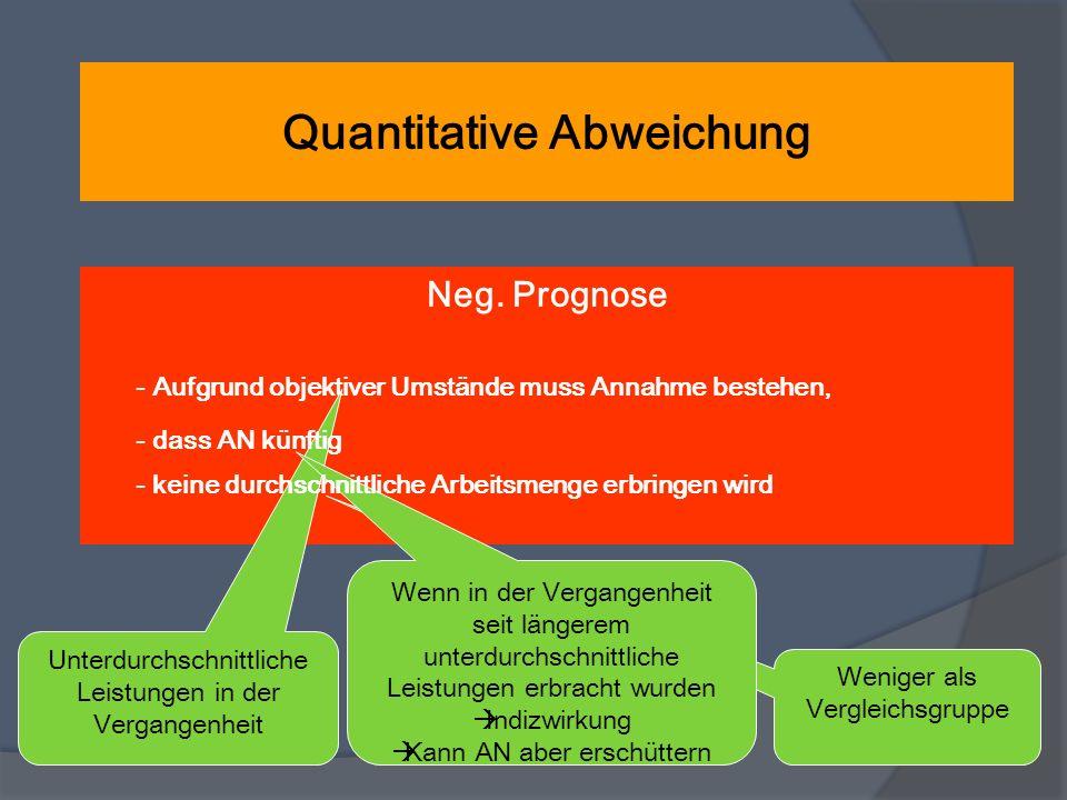 Quantitative Abweichung Neg. Prognose - Aufgrund objektiver Umstände muss Annahme bestehen, Unterdurchschnittliche Leistungen in der Vergangenheit - d