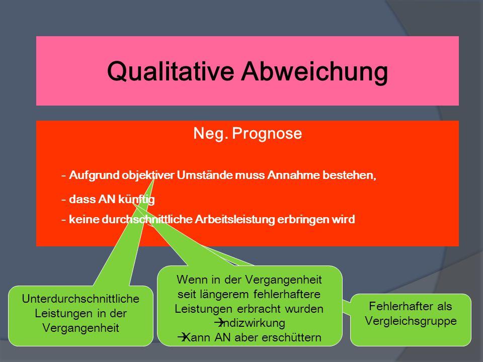 Qualitative Abweichung Neg. Prognose - Aufgrund objektiver Umstände muss Annahme bestehen, Unterdurchschnittliche Leistungen in der Vergangenheit - da