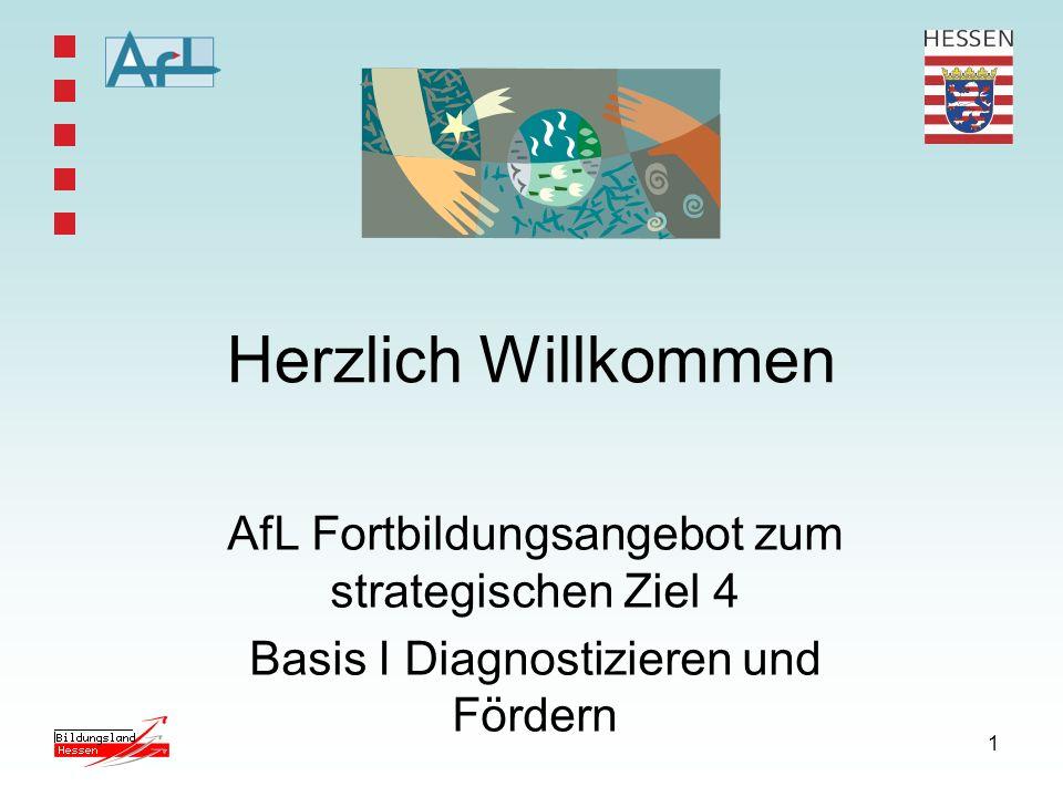 1 Herzlich Willkommen AfL Fortbildungsangebot zum strategischen Ziel 4 Basis I Diagnostizieren und Fördern