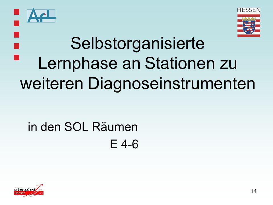14 Selbstorganisierte Lernphase an Stationen zu weiteren Diagnoseinstrumenten in den SOL Räumen E 4-6