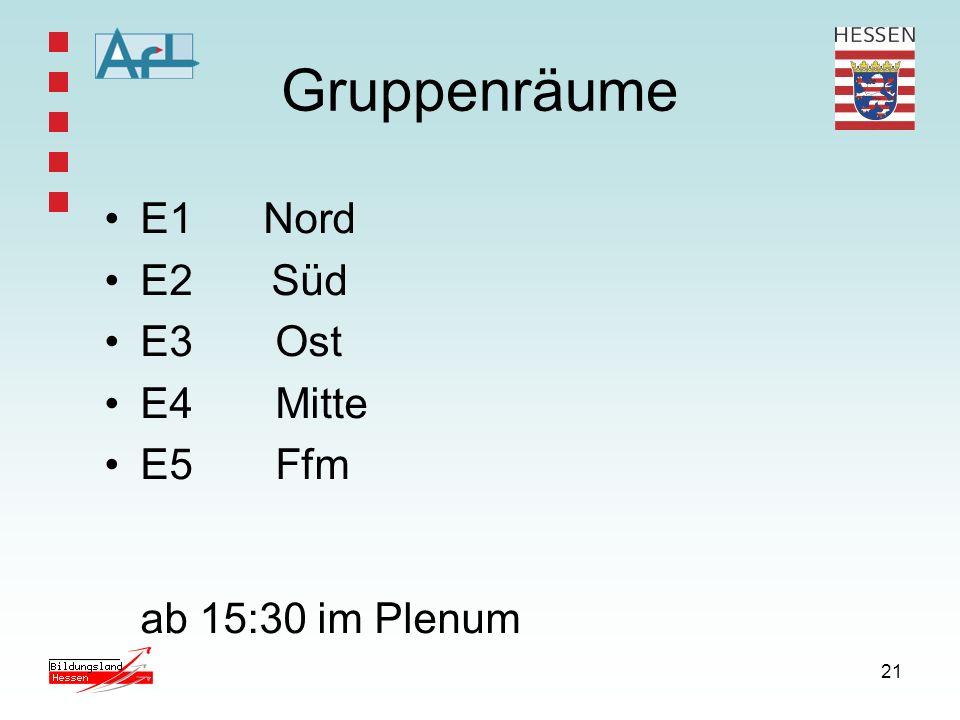 21 Gruppenräume E1 Nord E2 Süd E3 Ost E4 Mitte E5 Ffm ab 15:30 im Plenum