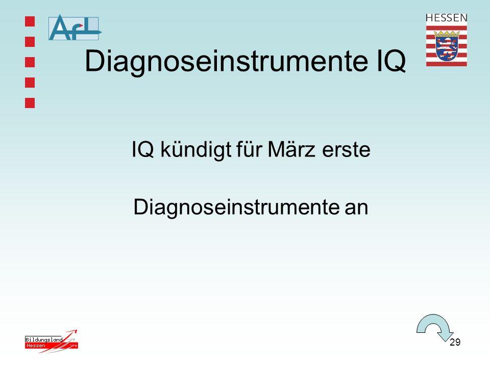 29 Diagnoseinstrumente IQ IQ kündigt für März erste Diagnoseinstrumente an