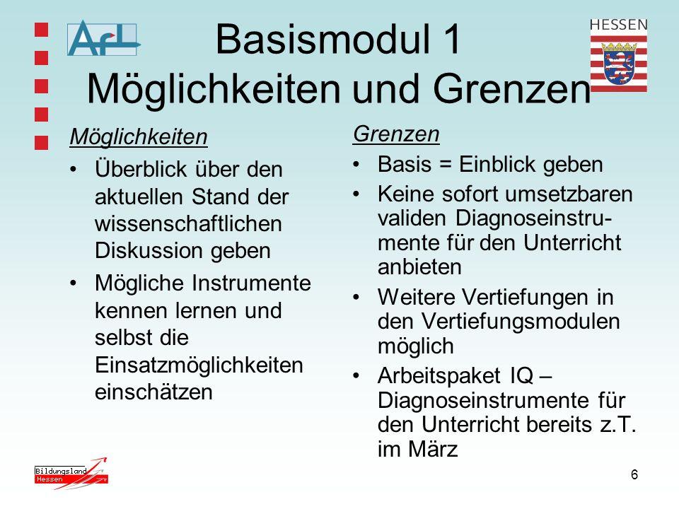 6 Basismodul 1 Möglichkeiten und Grenzen Möglichkeiten Überblick über den aktuellen Stand der wissenschaftlichen Diskussion geben Mögliche Instrumente
