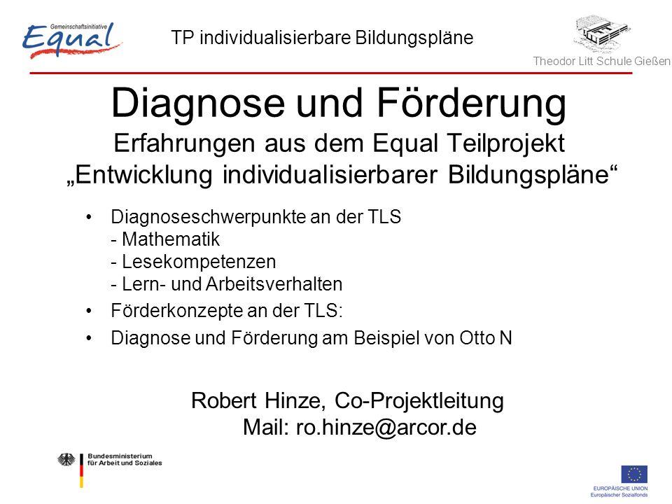 Theodor Litt Schule Gießen TP individualisierbare Bildungspläne Robert Hinze, 21.05.2006 1 Diagnose und Förderung Erfahrungen aus dem Equal Teilprojek