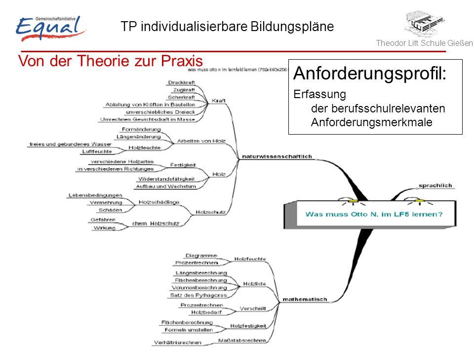 Theodor Litt Schule Gießen TP individualisierbare Bildungspläne Robert Hinze, 21.05.2006 10 Anforderungsprofil: Erfassung der berufsschulrelevanten Anforderungsmerkmale Von der Theorie zur Praxis
