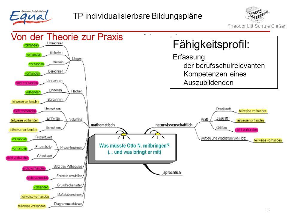 Theodor Litt Schule Gießen TP individualisierbare Bildungspläne Robert Hinze, 21.05.2006 11 Fähigkeitsprofil: Erfassung der berufsschulrelevanten Komp