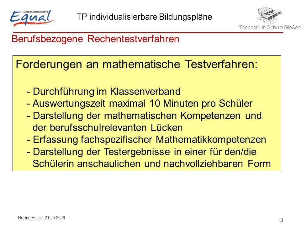 Theodor Litt Schule Gießen TP individualisierbare Bildungspläne Robert Hinze, 21.05.2006 13 Berufsbezogene Rechentestverfahren Forderungen an mathemat