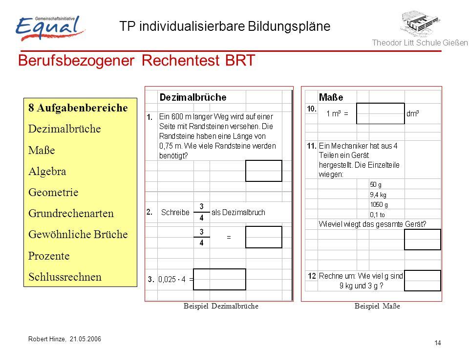 Theodor Litt Schule Gießen TP individualisierbare Bildungspläne Robert Hinze, 21.05.2006 14 Berufsbezogener Rechentest BRT 8 Aufgabenbereiche Dezimalb