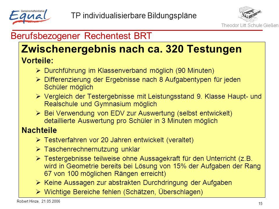 Theodor Litt Schule Gießen TP individualisierbare Bildungspläne Robert Hinze, 21.05.2006 15 Berufsbezogener Rechentest BRT Zwischenergebnis nach ca.