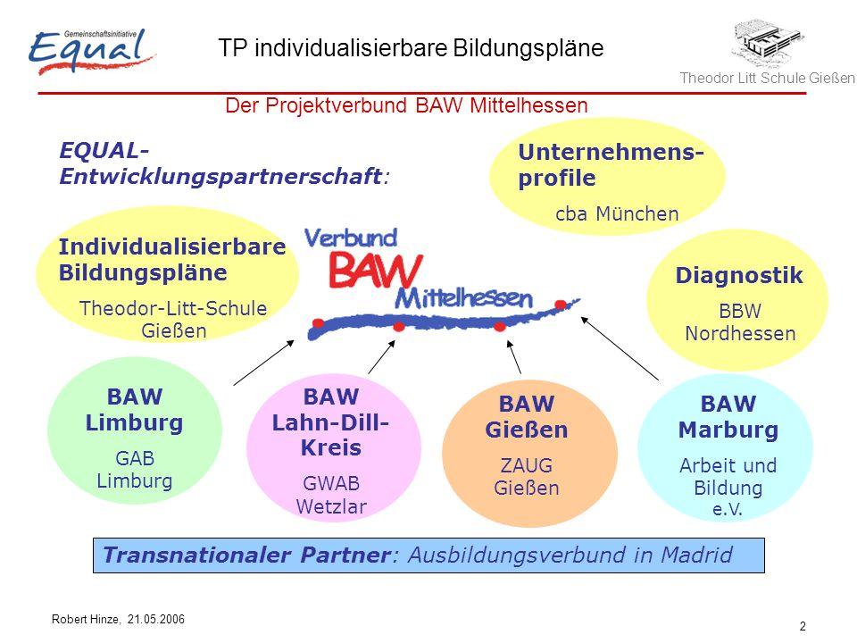 Theodor Litt Schule Gießen TP individualisierbare Bildungspläne Robert Hinze, 21.05.2006 2 EQUAL- Entwicklungspartnerschaft: BAW Limburg GAB Limburg B