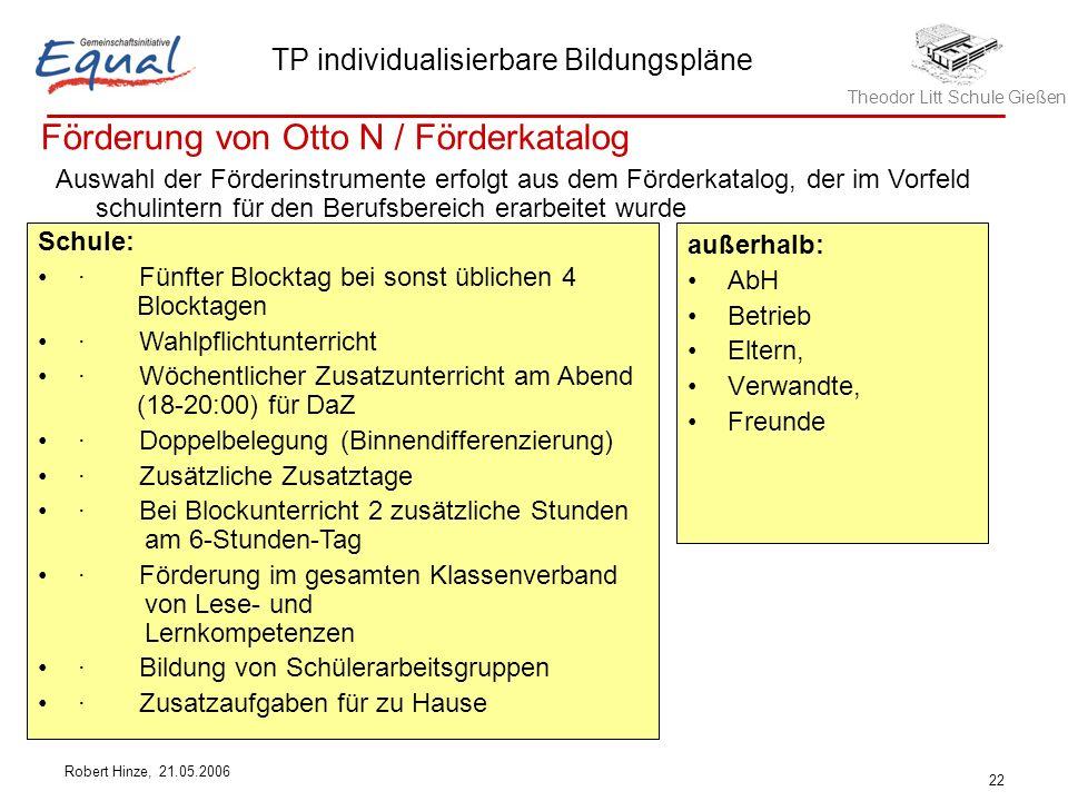 Theodor Litt Schule Gießen TP individualisierbare Bildungspläne Robert Hinze, 21.05.2006 22 Förderung von Otto N / Förderkatalog Schule: · Fünfter Blo