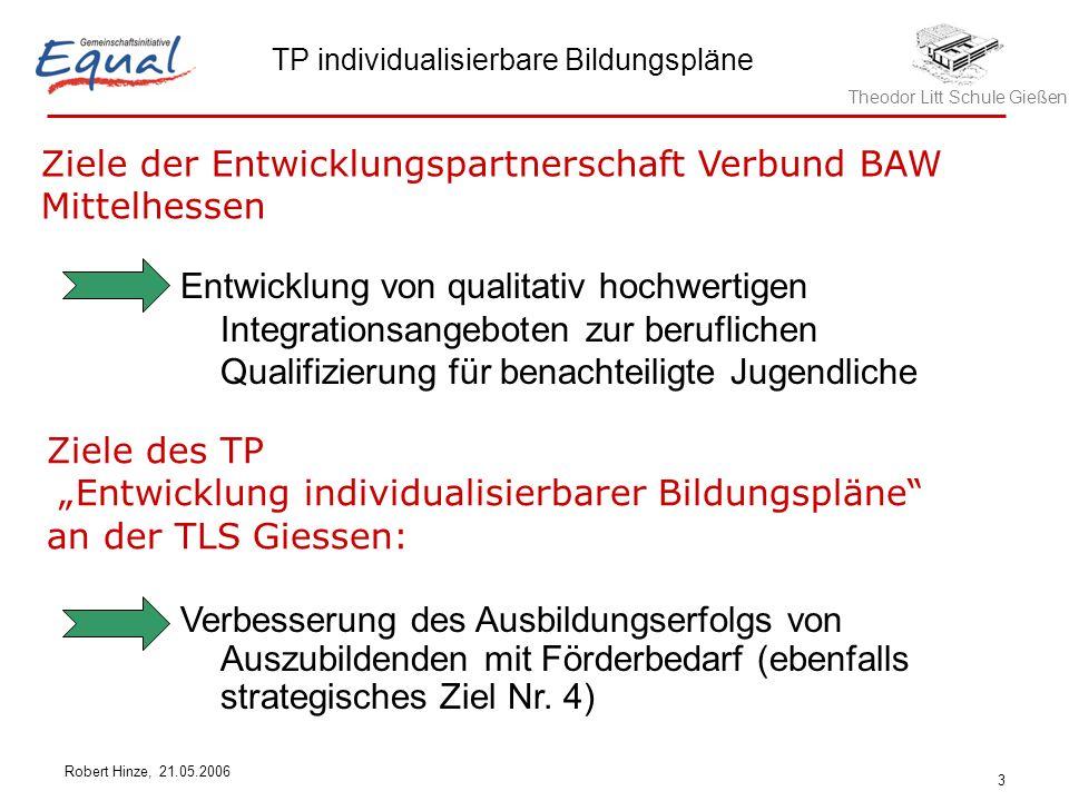 Theodor Litt Schule Gießen TP individualisierbare Bildungspläne Robert Hinze, 21.05.2006 3 Entwicklung von qualitativ hochwertigen Integrationsangebot