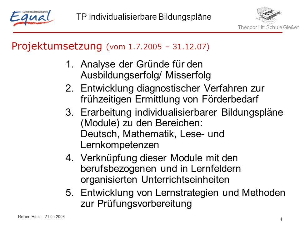 Theodor Litt Schule Gießen TP individualisierbare Bildungspläne Robert Hinze, 21.05.2006 4 1.Analyse der Gründe für den Ausbildungserfolg/ Misserfolg 2.Entwicklung diagnostischer Verfahren zur frühzeitigen Ermittlung von Förderbedarf 3.Erarbeitung individualisierbarer Bildungspläne (Module) zu den Bereichen: Deutsch, Mathematik, Lese- und Lernkompetenzen 4.Verknüpfung dieser Module mit den berufsbezogenen und in Lernfeldern organisierten Unterrichtseinheiten 5.Entwicklung von Lernstrategien und Methoden zur Prüfungsvorbereitung Projektumsetzung (vom 1.7.2005 – 31.12.07)