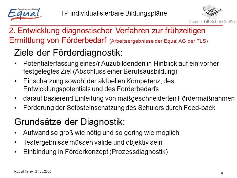 Theodor Litt Schule Gießen TP individualisierbare Bildungspläne Robert Hinze, 21.05.2006 6 Ziele der Förderdiagnostik: Potentialerfassung eines/r Auzu
