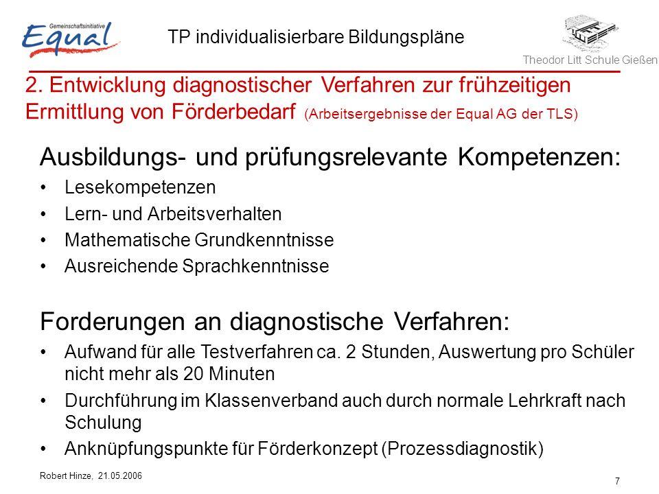 Theodor Litt Schule Gießen TP individualisierbare Bildungspläne Robert Hinze, 21.05.2006 7 Ausbildungs- und prüfungsrelevante Kompetenzen: Lesekompete