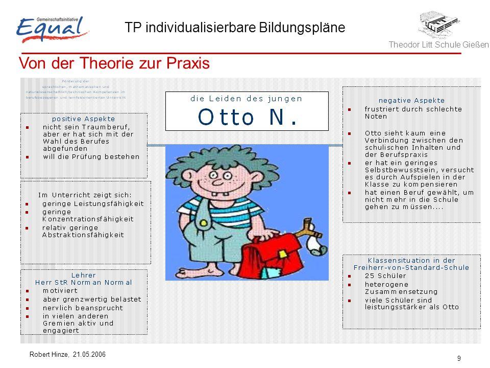 Theodor Litt Schule Gießen TP individualisierbare Bildungspläne Robert Hinze, 21.05.2006 9 Von der Theorie zur Praxis