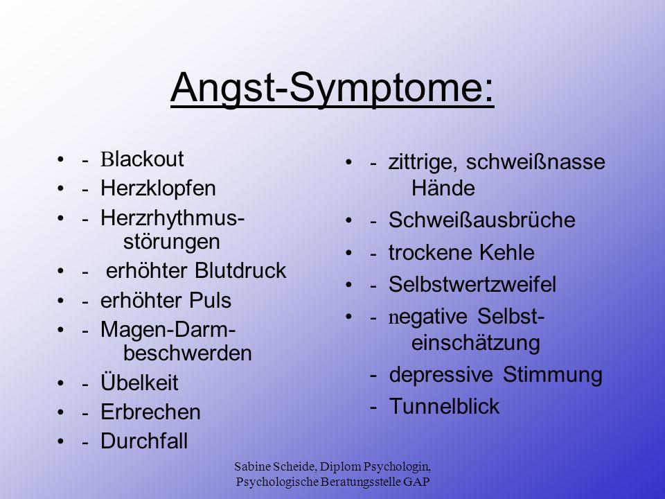 Sabine Scheide, Diplom Psychologin, Psychologische Beratungsstelle GAP Angst-Symptome: - B lackout - Herzklopfen - Herzrhythmus- störungen - erhöhter
