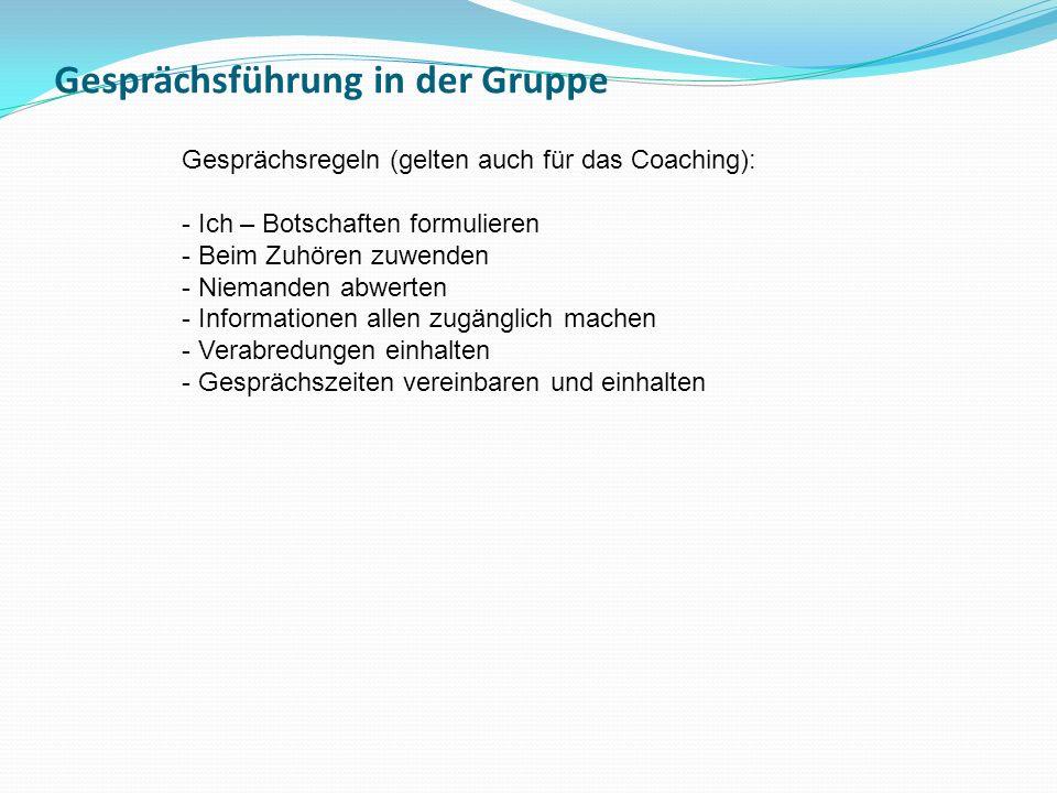 Gesprächsführung in der Gruppe Gesprächsregeln (gelten auch für das Coaching): - Ich – Botschaften formulieren - Beim Zuhören zuwenden - Niemanden abw