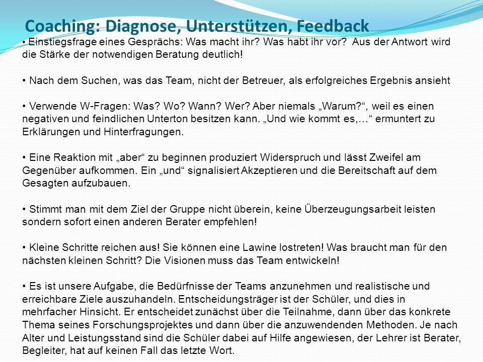 Coaching: Diagnose, Unterstützen, Feedback Einstiegsfrage eines Gesprächs: Was macht ihr? Was habt ihr vor? Aus der Antwort wird die Stärke der notwen