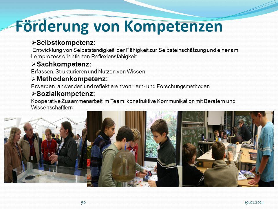 Förderung von Kompetenzen 5019.01.2014 Selbstkompetenz: Entwicklung von Selbstständigkeit, der Fähigkeit zur Selbsteinschätzung und einer am Lernproze