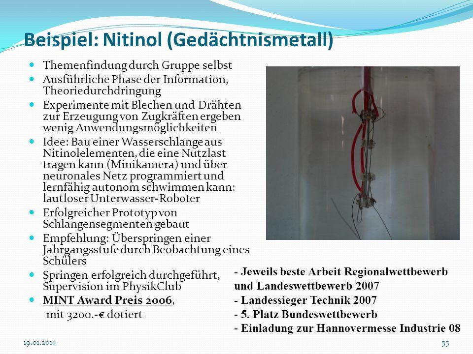 5519.01.2014 Beispiel: Nitinol (Gedächtnismetall) Themenfindung durch Gruppe selbst Ausführliche Phase der Information, Theoriedurchdringung Experimen