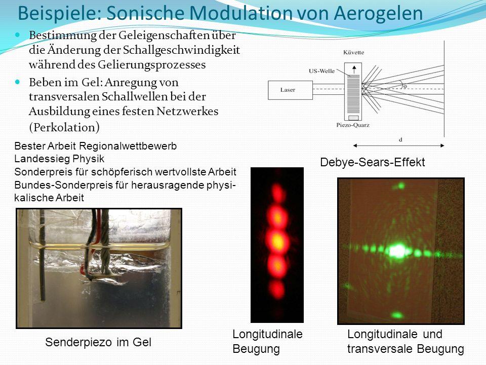 Beispiele: Sonische Modulation von Aerogelen Bestimmung der Geleigenschaften über die Änderung der Schallgeschwindigkeit während des Gelierungsprozess